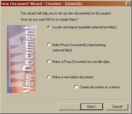 NVivo New Document Wizard